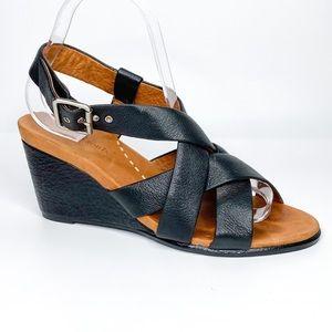 Gentle Souls B. Gabe Black Leather Sandal Wedge